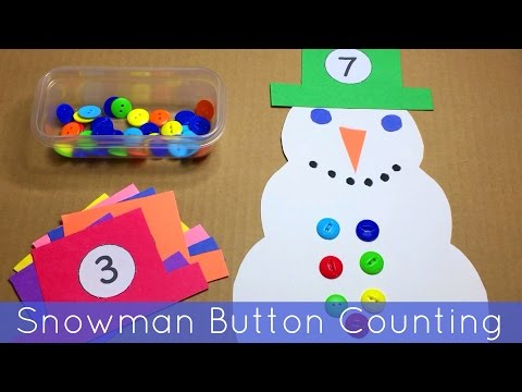 Snowman Button Counting -  Math and Fine Motor Activity For Preschool and Kindergarten