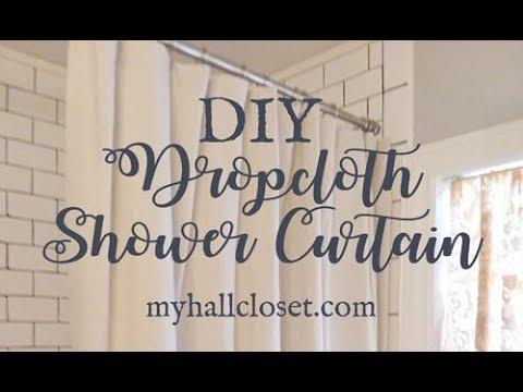 DIY Dropcloth Shower Cutain for a Farmhouse Bathroom
