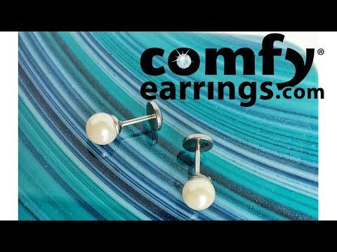 Flat back Pearl earrings from ComfyEarrings.com