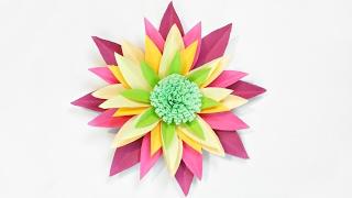 Dahlia paper flower diy making tutorial. Paper flowers decorations easy for children, for kids