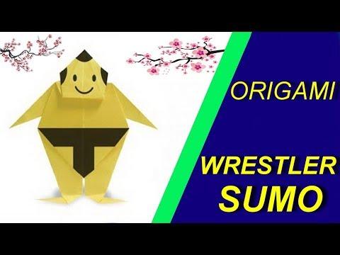 Борец сумо из бумаги. Оригами сумоист. Sumo wrestler made of paper. Origami