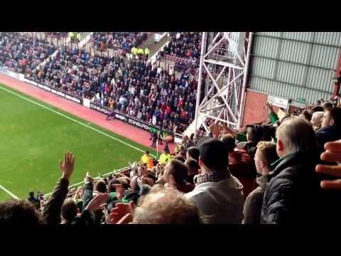 Celtic v Hearts at Tynecastle singing build a bonfire
