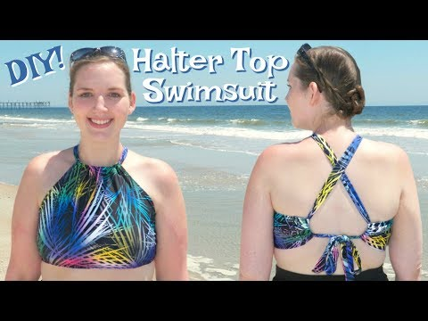 DIY Halter Swimsuit Top w/ Criss Cross Straps | How to Sew a Bathing Suit Easy
