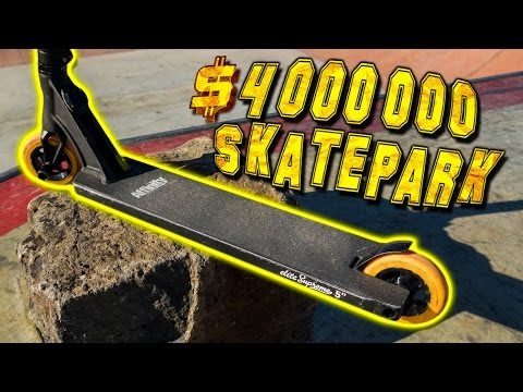 SCOOTER TRICKS AT AWESOME BRAND NEW SKATE PARK