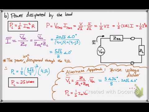 Calculate Power Dissipated by the Load