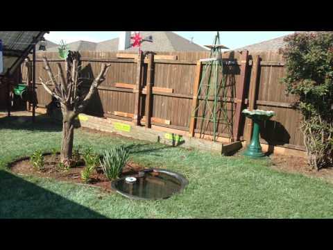 DIY backyard fixes, spring clean-up, improvements, solar pump/pond - 4K video resolution