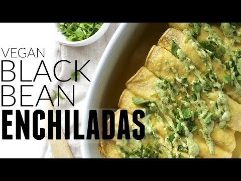 BLACK BEAN GREEN CHILI ENCHILADAS w VEGAN JALAPENO CREAM SAUCE | This Savory Vegan