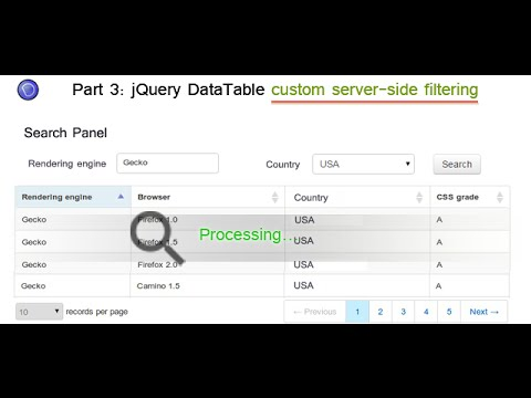 Part 3:  implement custom multicolumn server-side filtering in jQuery dataTables