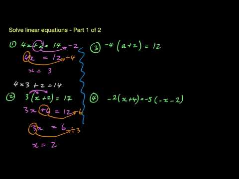 Solving Linear Equations - 1 of 2