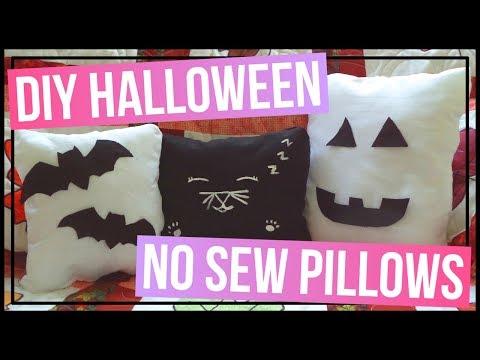 DIY Halloween No Sew Pillows 🎃 DIY Black Cat Pillow, DIY Bat Pillow, and a DIY Pumpkin Pillow