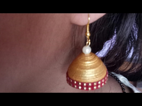 Quilling paper earring/ How to make Simple golden jhumka.