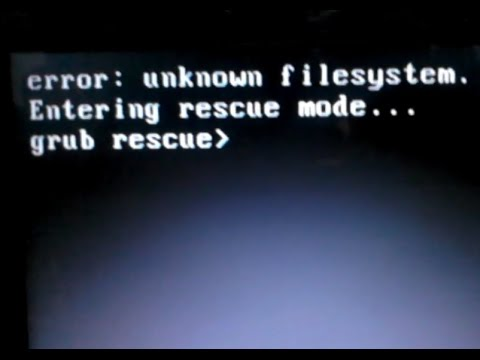 Fixing Ubuntu - Filesystem unknown. Entering Rescue mode. grub rescue