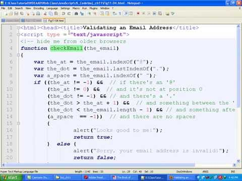 Javascript Bangla Tutorial::Ch11: How to validate Form (E-mail address validation)- Part 4