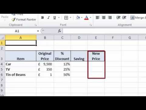 Excel 2010 Tutorial For Beginners #17 - Percentage Calculations (Microsoft Excel)