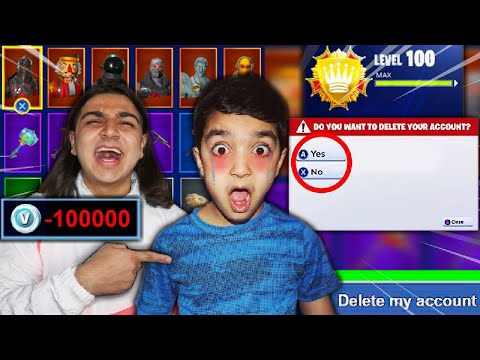 DELETING MY 5 YEAR OLD LITTLE BROTHERS FORTNITE ACCOUNT! | HE LOST EVERYTHING ON HIS ACCOUNT (RESET)