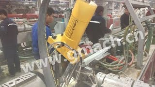 Plate type hydraulic screen changer for plastic  profile (PVC ) extrusion machine