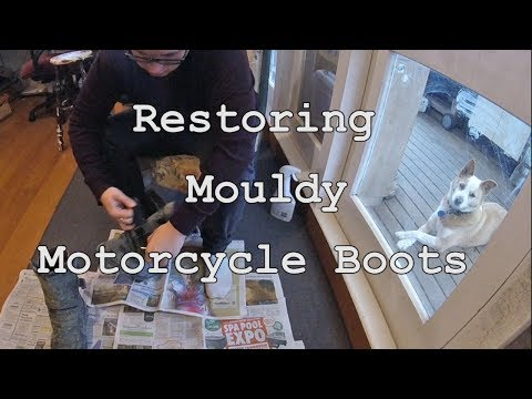 Restoring Mouldy (Moldy) Motorcycle Boots.
