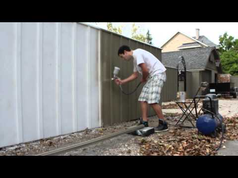 Painting A Fence With an Air Spray Paint Gun - Solid Oil Stain