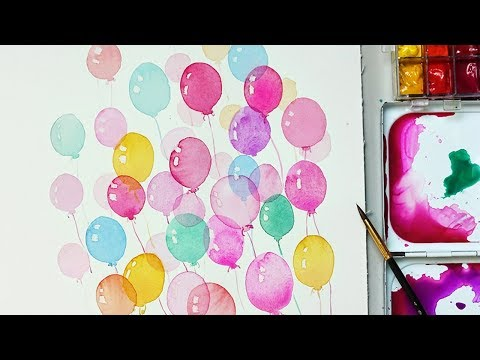 How to Paint Balloons with Watercolors for Beginners | Easy and Simple way