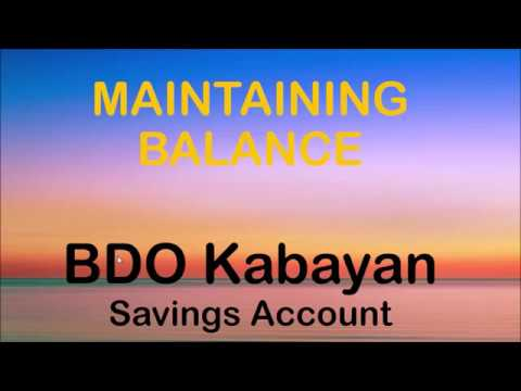 BDO Kabayan Savings Account Maintaining Balance