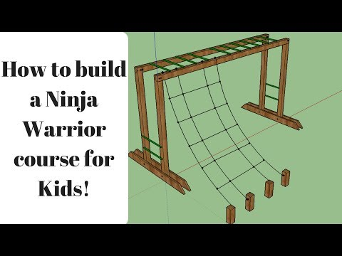 How to build Ninja Warrior Course for kids:  Monkey Bars & Cargo Net