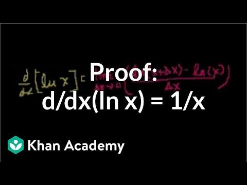 Proof: d/dx(ln x) = 1/x   Taking derivatives   Differential Calculus   Khan Academy
