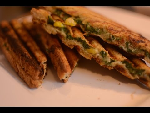 Spinach And Cheese corn Sandwich Recipe | Lunch Box Sandwich | Breakfast Sandwich Recipe