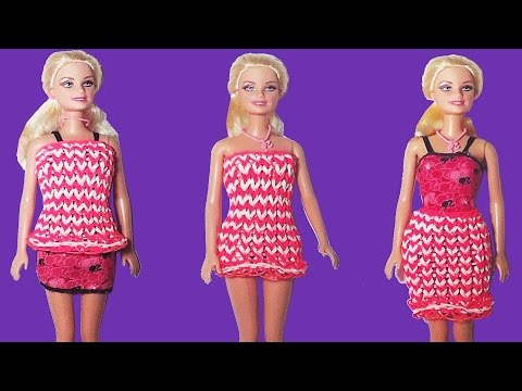 How to make doll dress with rubber bands wihout rainbow loom with forks vestido muñeca gomitas