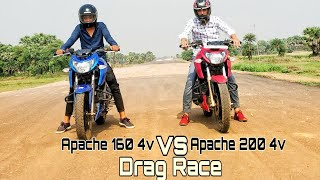 TVS Apache RTR160 4V FI vs Honda CBR 150R| Drag race and