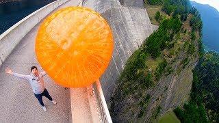 ZORB BALL MAGNUS EFFECT from 165m Dam!