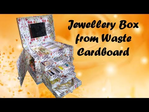 Great ideas of using Waste Cardboard//Best out of waste Material//jewellery box