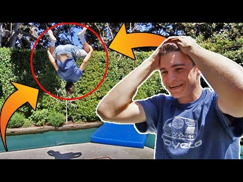 FIRST TIME DOING A DOUBLE BACKFLIP!!! (BACK YARD SUPER TRAMPOLINE) w/ LEL M8