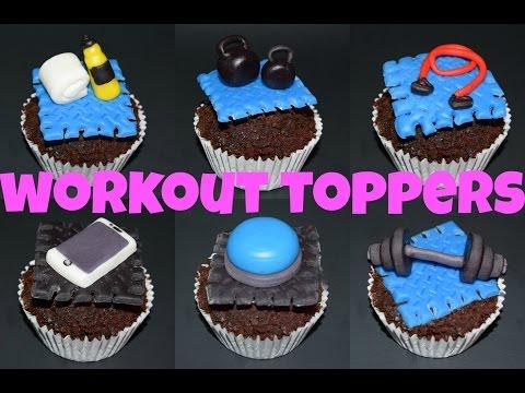 Workout theme cupcake toppers 🏋 cupcakes de ejercicio