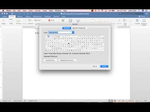 Inserting Symbols in Word 2016 for Mac