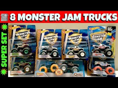 8 MONSTER JAM Trucks Super Set