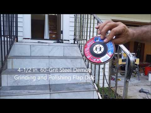 How to Use Flap Disc   Removing Rust and Polishing Rusty Iron railing.