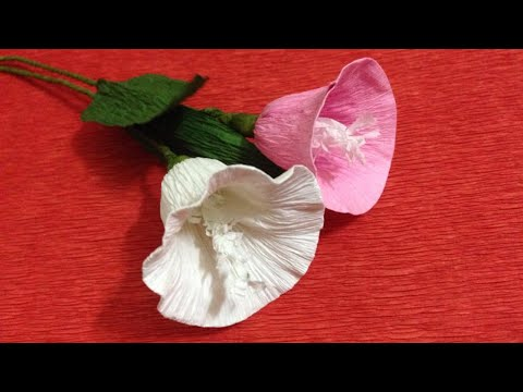 How to Make Morning Glory Crepe Paper Flowers - Crepe Paper Craft Flowers - Paper Flower Tutorial