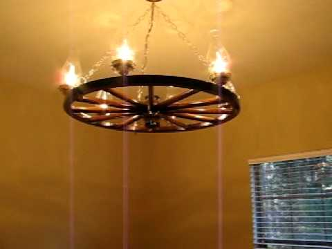 Amish Wooden Buggy Wheel Chandelier