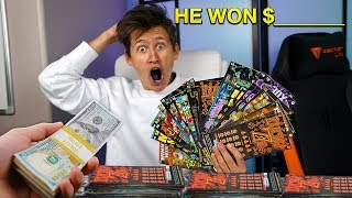 I Gave My LITTLE BROTHER $10,000 To Spend On LOTTERY TICKETS & He Won $________