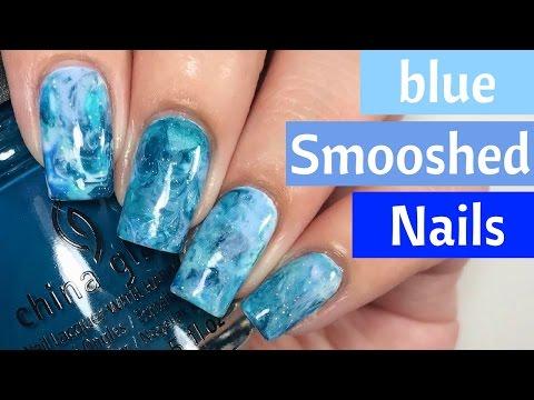 🔵 Smooshed Marble Nail Tutorial! (Part 1) 🔵