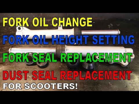 Scooter Front Fork Service : Fork Oil Change, Seal Replacement & Checks