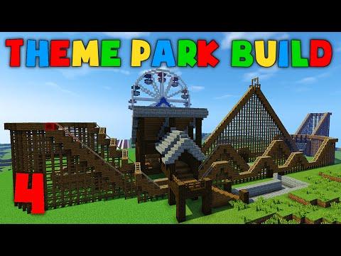 Minecraft Theme Park Build - Part 4 - Wooden Roller Coaster!