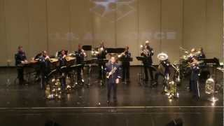 """SSgt Carl Eitzen, trumpet soloist, performs with members of the US Air Force Heartland of America Band """"Brass in Blue"""".  From a concert on 9 February 2013, Spirit Lake Iowa."""