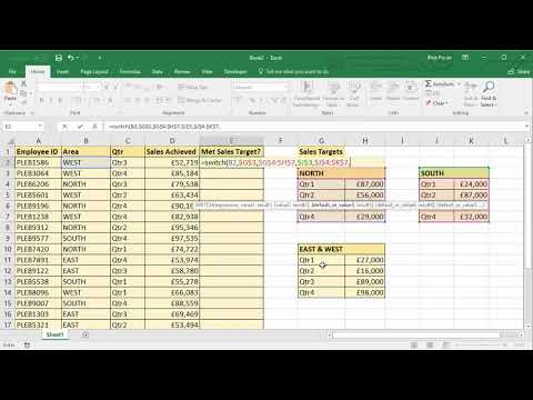Using Excel's SWITCH Function to VLOOKUP Multiple Tables