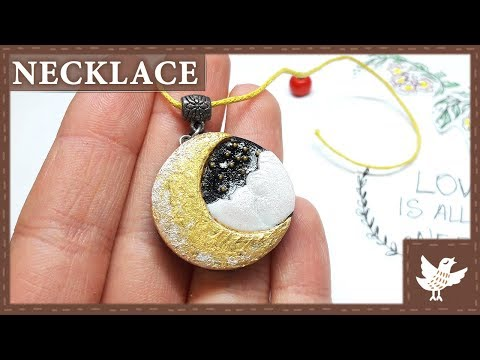 COOL DIY Jewelry 🌙 Half Moon Necklace 🌙 Polymer Clay