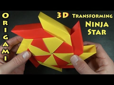 Origami 3-D Transforming Ninja Star designed by Ray Bolt