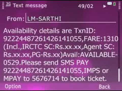 Video for booking normal train ticket through SMS in English