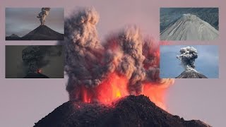 Colima Volcano - Daytime and Nighttime eruptions, overflight of crater