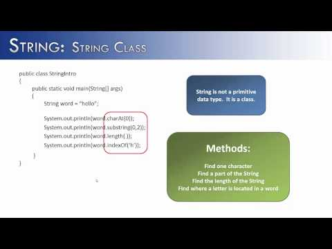 String Part 1:  Introduction to the String Class (Java)