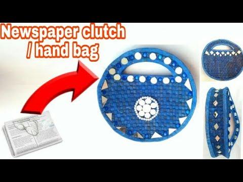 Newspaper clutch | Newspaper hand bag | Women's handbags I How to make a newspaper purse | HMA##110